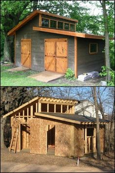 We found a really nice garden shed that you can DIY! Lots of storage space, great natural light, big doors! Do you need this in your backyard?