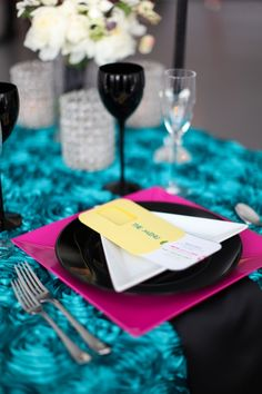 Unique bridal table setting idea for an 80s themed wedding. Find more ideas for how to plan an 80s party http://sparklerparties.com/rock-the-80s/