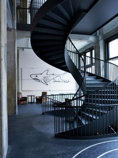 black spiral staircase. breathtaking.