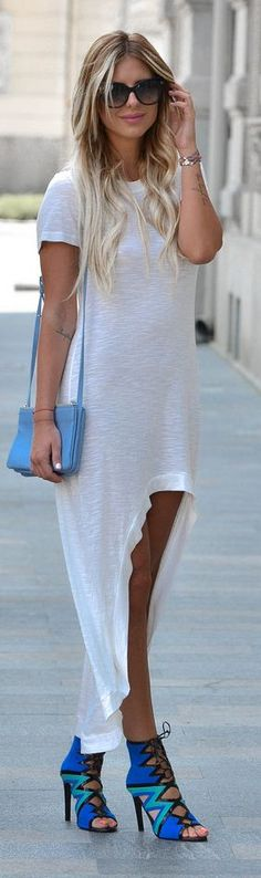 White High And Low Tshirt Maxi Dress by Zorannah.