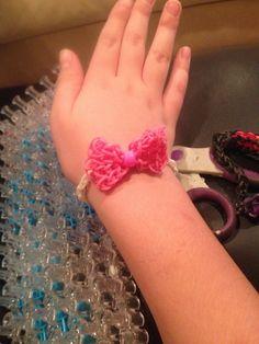 Pink bow rainbow loom bracelet