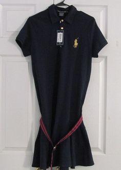 Ralph Lauren Women's Golf Dress, Large, Navy Blue, Red/Navy Belt, New With Tags #RalphLauren #GolfDress #GolfCasual