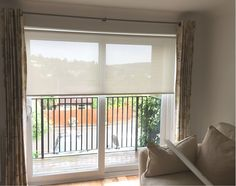 Sunscreen roller blinds we installed to window and sliding door with existing curtains | Made to measure | Voile roller blinds are the modern equivalent to net curtains | Guildford