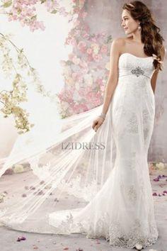 A-Line/Princess Strapless Court Train Chiffon wedding dress - IZIDRESS.com at IZIDRESS.com