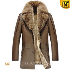 "CWMALLS® Custom Fur Shearling Trench Coat CW858037 - Custom made raccoon fur trimmed shearling coat, well constructed from natural lambskin leather and shearling material for best warmth, classic design with fashion details, this shearling coat with fur collar is stylish and warm enough for extreme weather, even the ""Ice Age"" hits, and you can also have this fur shearling trench coat customized according to your actual measurements."