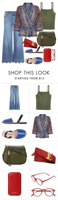 """""""Paisley"""" by xmoonagedaydreamx ❤ liked on Polyvore featuring RED Valentino, H&M, Prada, Mes Demoiselles..., Marc Jacobs, Louis Vuitton, Aspinal of London and Izipizi"""