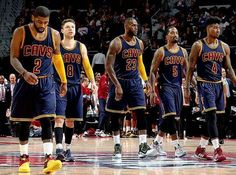 Kyrie Irving, Matthew Dellavedova, Lebron James, JR Smith and Iman Shumpert