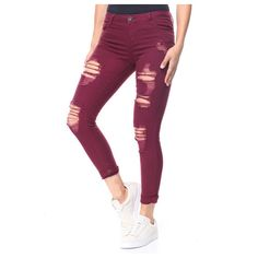 destructed high cuff skinny jean by Basic Essentials (1,305 INR) ❤ liked on Polyvore featuring jeans, distressed jeans, denim skinny jeans, white skinny jeans, ripped jeans and white skinny leg jeans