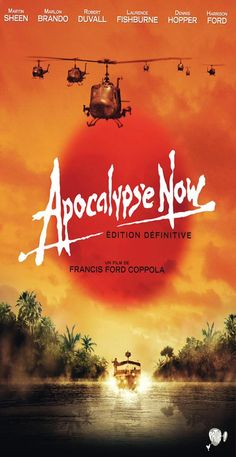 1979:Apocalypse Now war adventure set during the Vietnam War, produced and directed by Francis Ford Coppola and starring Marlon Brando, Robert Duvall and Martin Sheen. The film follows the central character, Captain Benjamin L. Willard (Sheen), on a secret mission to assassinate the renegade and presumed insane Colonel Walter E. Kurtz (Brando). The screenplay by Coppola updates the setting of Joseph Conrad's novella Heart of Darkness to that of the Vietnam War.