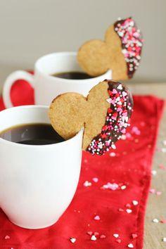 Valentine's Mug Hugger Espresso & Chocolate Shortbread Cookies Valentines Mugs, Valentine Cookies, Christmas Cookies, Christmas Cup, Biscuit Cookies, Cupcake Cookies, Sugar Cookies, Fun Baking Recipes, Cookie Recipes