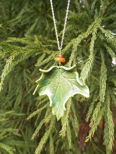 Green Maple Leaf Pendant Necklace by MythicalDesigns on Etsy, $32.00