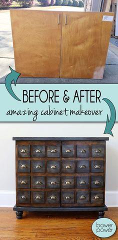 Faux Card Catalog Cabinet makeover | DIY | Furniture renovation | Bower Power Blog