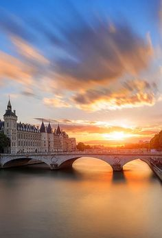 Beautiful Sunset Over River Seine, Paris France