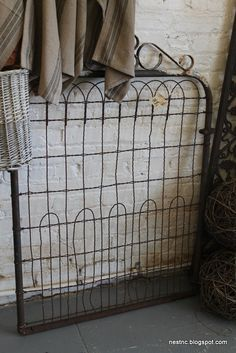 old metal gate--for the backyard Mel? Metal Shed, Metal Gates, Metal Fences, Old Headboard, Headboards, Old Gates, Garden Gates, Fence Gates, Fencing