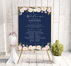 Printable Navy Wedding Welcome Sign Templates, Printable Burgundy Floral Gold Wedding Sign, Large Po Wedding Program Board, Wedding Menu, Wedding Programs, Wedding Planning, Wedding Day, Dream Wedding, Wedding Stuff, Wedding Seating, Spring Wedding