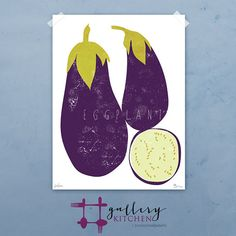 Eggplant graphic culinary art illustration by FowlerCreativeArts, $32.00