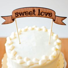 The Shabby Chic Cake Topper  Sweet Love Banner  by betteroffwed, $25.00