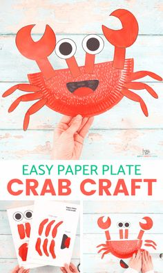 Learn how to make this Paper Plate Crab Craft with our easy to follow step-by-step tutorial. Crabs are the perfect subject for a Summer craft session with the kids and this super easy crab craft will delight Arty Crafty Kids with its easy to color and cut shapes. Paper Plate Crab, Paper Plates, Easy Arts And Crafts, Crafts For Kids To Make, Under The Sea Crafts, Crab Crafts, Easy Art Projects, Plate Crafts, Crafty Kids