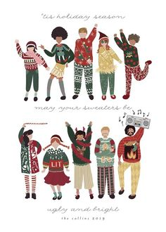 Ugly Sweaters Club Holiday Non-Photo Cards Holiday Sweaters, Ugly Christmas Sweater, Christmas Graphic Design, Christmas Illustration, Illustration Art, Holiday Postcards, Holiday Photo Cards, Ugly Sweater, Being Ugly
