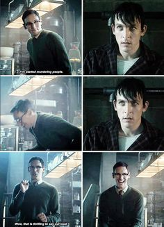 """I've started murdering people"" - Ed and Oswald #Gotham ((Penguin's face))"