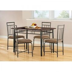5 Piece Dining Set Metal Wood Kitchen Table Chairs Modern Furniture Espresso #Mainstays #Contemporary