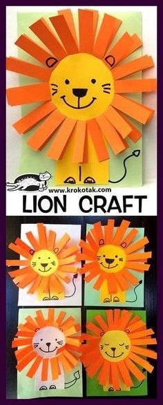 LION CRAFT children activities, more than 2000 coloring pa. LION CRAFT children activities, more than 2000 coloring pages Lion Kids Crafts, Ocean Kids Crafts, Lion Craft, Paper Plate Crafts For Kids, Frog Crafts, Animal Crafts For Kids, Rainbow Crafts, Owl Crafts, Daycare Crafts