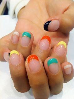 Simple Multicolored of Summer Nail Polish Designs Nail Art Designs, Colorful Nail Designs, Nail Polish Designs, Colorful Nails, How To Do Nails, Fun Nails, Pretty Nails, Nail Swag, French Nails