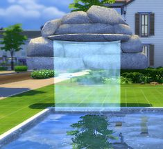 Mod The Sims - Three Waterfalls Around The Sims 4, Maxis, Water Features, Waterfalls, Outdoor Decor, Diy, Cute Things, Water Sources, Bricolage