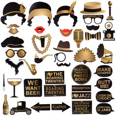 AmazonSmile: Roaring 1920's Party Photo Booth Props,BizoeRade 42pcs Roaring 20s Twenties Photo Booth Props,1920s Wedding Photo Booth Backdrop Decorations: Kitchen & Dining