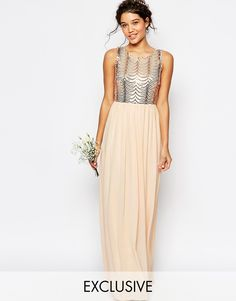 Image 1 of TFNC WEDDING Sequin Maxi Dress with Open Back