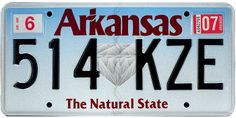 The official Arkansas state license plate. The only state where you can dig for diamonds.