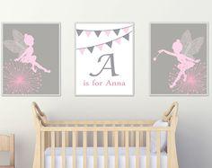 Bebé niña vivero pared arte, aerodeslizador y arte de hadas infantiles, juegos de decoración de dormitorio gris y rosa y decoración de dormitorio - H128