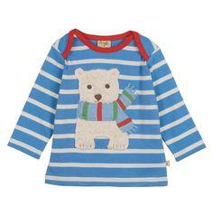 Baby-und Kinder Langarm Shirt Bobby Applique Top Stripe/Bear Frugi - kinder shirt eisbär frugi bei heldenkind