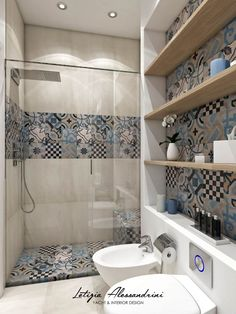 Modern Bathroom: Interior Design, Ideas and Photos l homify - Studio in Milan: Modern style bathroom by Letizia Alessandrini – Yacht & Interior Design - Simple Bathroom Designs, Bathroom Design Small, Bathroom Interior Design, Modern Bathroom, Master Bathroom, Morrocan Bathroom, Spanish Bathroom, Italian Bathroom, Interior Decorating
