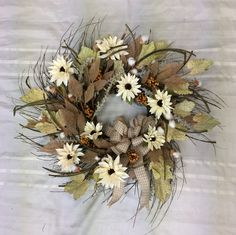Fall Farmhouse Wreath, Wreath for Front Door, Fall Wreath, Farmhouse Decor, Farmhouse Wreath for Door, Country Home Decor, Cotton by TheBayWindowFlorist on Etsy Autumn Wreaths For Front Door, Fall Door, Door Wreaths, Etsy Wreaths, Dining Room Centerpiece, Fall Scarecrows, Scarecrow Wreath, Welcome Fall, Orange Roses