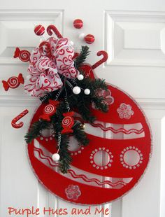 DIY Red Christmas Ornament Door Wreath Decor.