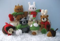 Amigurumi Woodland Christmas Ornament Crochet Pattern Set by Amy Gaines $6.00 on Ravelry at http://www.ravelry.com/patterns/library/amigurumi-woodland-christmas-ornament-crochet-pattern-set