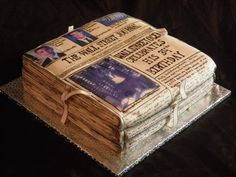 Newspaper cake by Amazing Cake Creations - Amanda Stevens-Ferrell Pretty Cakes, Beautiful Cakes, Amazing Cakes, Crazy Cakes, Fancy Cakes, Unique Cakes, Creative Cakes, Fondant Cakes, Cupcake Cakes