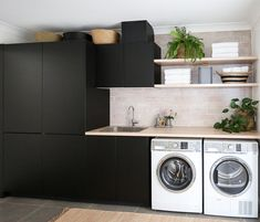 The Little-Known Secrets to Laundry Room Design Ideas There are lots of design ideas in the post basement laundry room which you are able to find, you will see ideas in the gallery. Therefore, if you're searching for design suggestions… Continue Reading → Basement Laundry, Laundry Room Organization, Laundry In Bathroom, Laundry Cabinets, Diy Cabinets, Laundry Shelves, Small Shelves, Black Cabinets, Storage Shelves