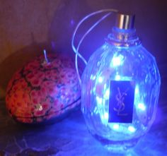 Vintage Yves Sant Laurent Recycled Bottle Blaclight LED Lamp by RecycledDesignLondon on Etsy