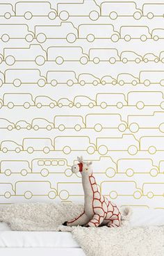 "Planning a transportation theme for the nursery? This chic and modern Jam wallpaper is the perfect accent for any nursery or playroom. Each roll has a 27"" x 36"" repeat and in a straight-across pattern"