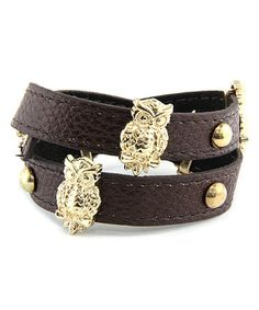 Another great find on #zulily! Brown & Gold Studded Owl Wrap Bracelet #zulilyfinds