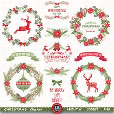 """Christmas Clipart """" CHRISTMAS WREATH CLIPART """" Vintage Flowers,Floral,Deer,Banner,Rustic Christmas Wreath,Ornaments,Christmas GreetingCrs044 by SAClipArt on Etsy"""