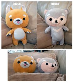 Soft, plush toys made for cuddling!  Doogie the shiba inu corgi stands at approximately 13.5 inches from the tip of his ear to his toes and Buurr the sun bear stands approximately 13 inches.   Take them home with you today!