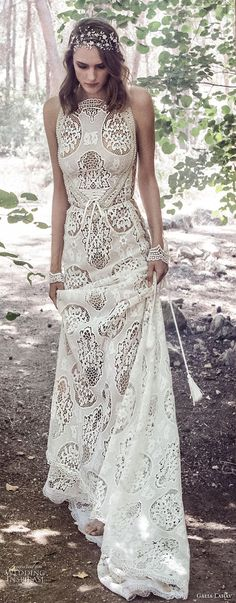galia lahav gala 4 2018 bridal sleeveless halter neck full embellishment elegant bohemian soft a line wedding dress mid strap back short train (905) mv -- Gala by Galia Lahav 2018 Wedding Dresses