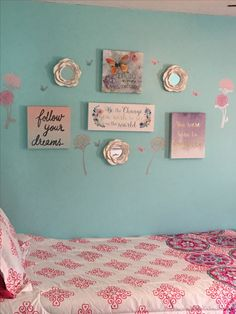 Girls room gallery wall. All Burlington finds. Teal and pink room