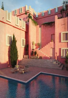 Red wall Tribute on Behance Color Schemes Design, Blender 3d, Red Walls, Behance, Mansions, Architecture, House Styles, Home Decor, Arquitetura