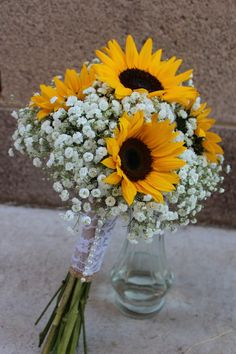Rustic Vintage Shabby Chic Bridal Bouquet of Sunflowers and Babies Breath. Burlap, Lace and Pearl Wrap.