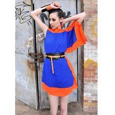 Ladies Fitting Spliced Loose Blue Chiffon Mini Dress One Size... ($15) via Polyvore