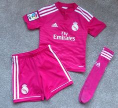 Boys girls adidas real #madrid away pink #football kit - age 4-5 #years - worn on,  View more on the LINK: 	http://www.zeppy.io/product/gb/2/112195079342/